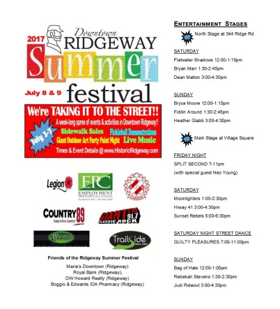 Ridgefest Entertainment Lineup & Sponsors